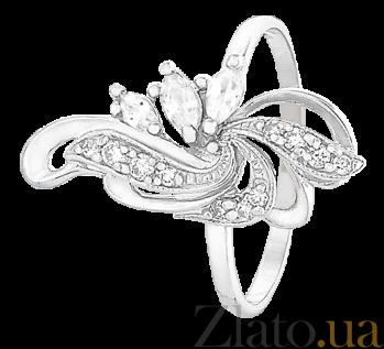 Серебряное кольцо с белыми фианитами Фонтан 000025547