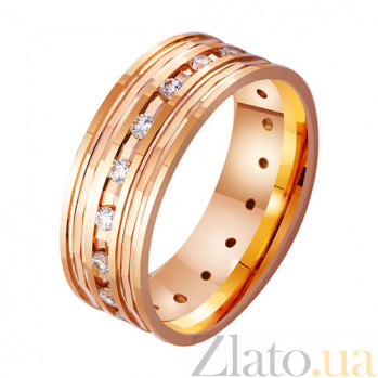 Обручальное кольцо из красного золота Праздник любви с фианитами TRF--4121146