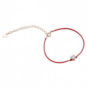 Браслет из серебра и шелковой красной нити Пора любви с цирконием и позолотой 000099332