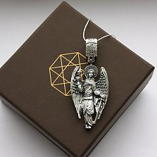 Серебряная подвеска чернёная Ангел Хранитель