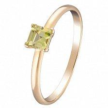 Кольцо в желтом золоте Лаура с хризолитом