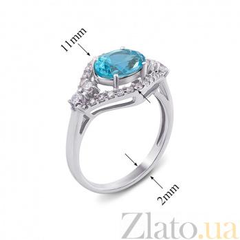 Серебряное кольцо с голубым кварцем и фианитами Прага 1579/9р гол.кварц