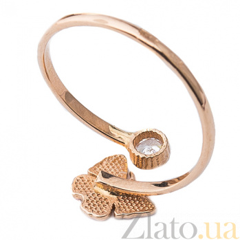 Золотое кольцо с фианитом и цветной эмалью Бабочка ONX--к03700
