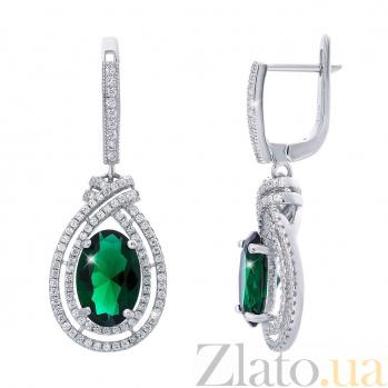 Серьги серебряные с зеленым куб. цирконием Агнеса AQA-HYE12080245g