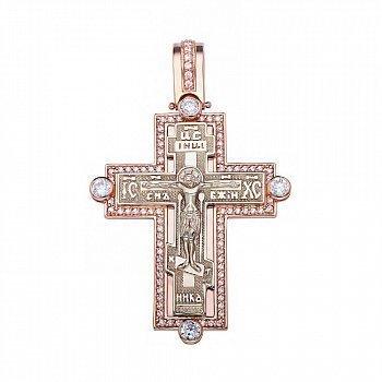 Крестик в красном золоте с фианитами 000054852