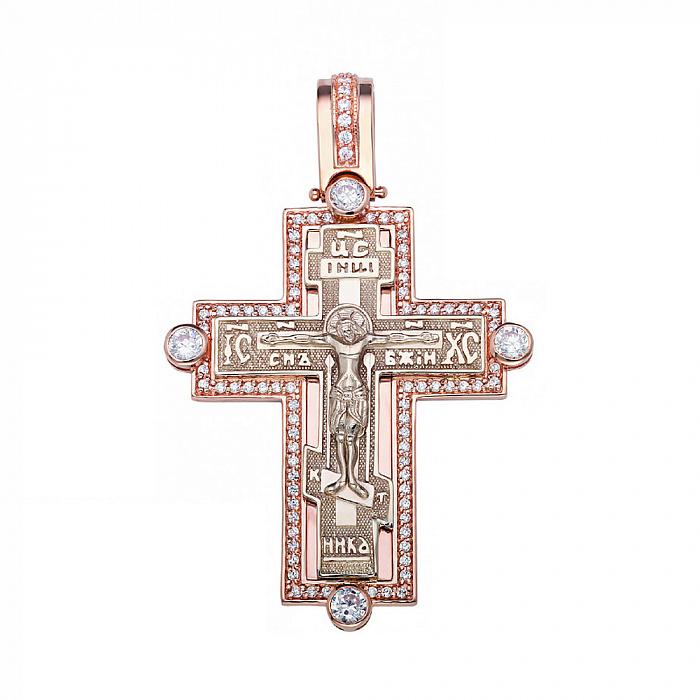 Крестик в красном золоте с фианитами 000054852 000054852