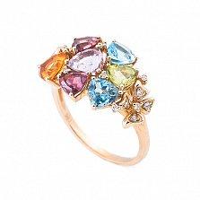 Золотое кольцо Микс с аметистом, топазами, цитрином, перидотом и бриллиантами
