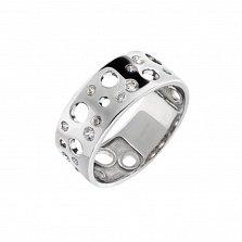 Серебряное кольцо Лунная поверхность с фианитами