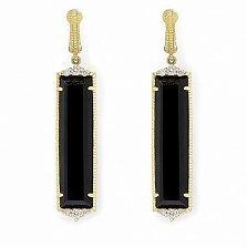 Серьги Ashkenazi с бриллиантами и черным ониксом
