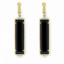 Серьги Ashkenazi с бриллиантами и черным ониксом 000017493
