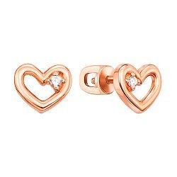Золотые серьги-пуссеты с сердечками и фианитами в четырех крапанах 000095157