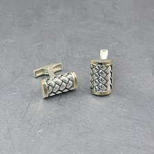 Серебряные запонки Плетеные с золотыми накладками