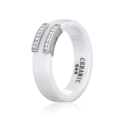 Белое керамическое кольцо Вермонт с серебром и цирконием