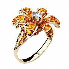 Золотое кольцо с сапфирами и бриллиантами Маргарита
