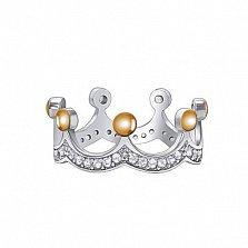 Серебряное кольцо Корона с золотыми накладками и фианитами