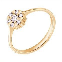 Золотое кольцо в желтом цвете c бриллиантами 000070552