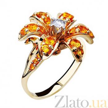 Золотое кольцо с сапфирами и бриллиантами Маргарита KBL--К1555/желт/сапф