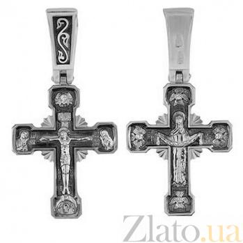 Крест покров Пресвятой Богородицы в белом золоте VLT--КС1-3046-0-3
