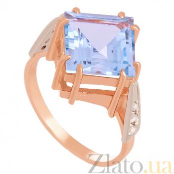 Золотое кольцо с голубым топазом и фианитами Афият 000030782