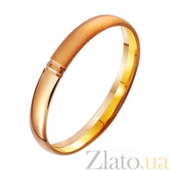 Золотое полуматовое обручальное кольцо Счастливый союз TRF--411853