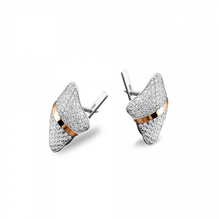 Серебряные серьги Марица с золотыми накладками, фианитами и родием 000082103