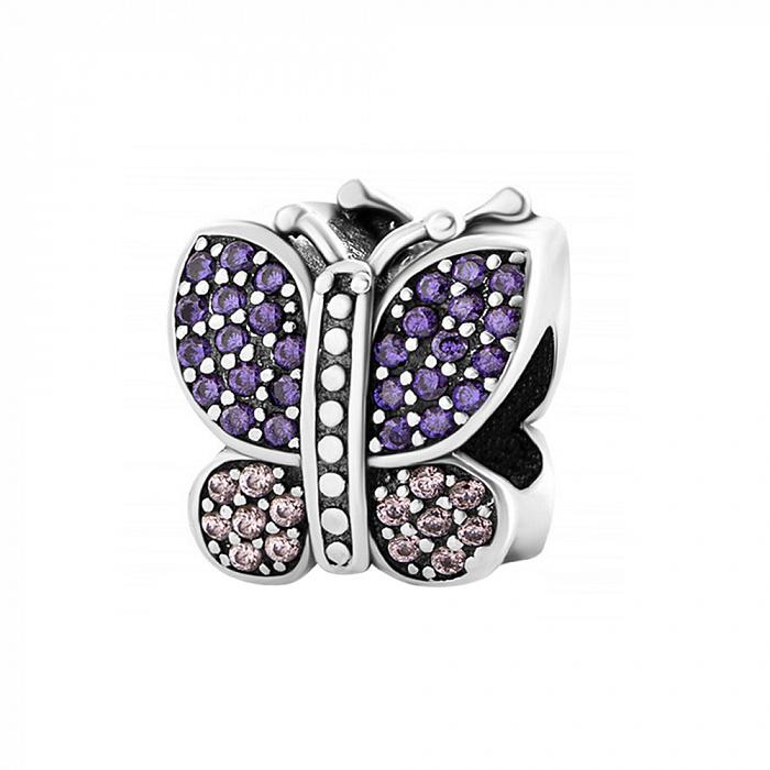 Серебряный шарм Бабочка с фиолетовыми и белыми фианитами 000028790