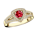 Рубиновое кольцо в лимонном золоте с микро-павэ  Dream & Love