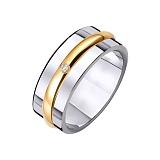 Золотое обручальное кольцо Икона стиля с цирконием