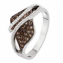 Кольцо из белого золота с коньячными бриллиантами Десма
