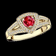 Рубиновое кольцо в лимонном золоте с микро-паве Dream n Love