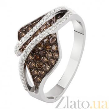 Кольцо из белого золота с коньячными бриллиантами Десма KBL--К1948/крас/брил