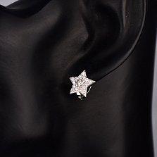 Серебряные серьги-звезды Великолепие с фианитами