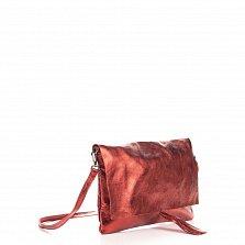 Кожаный клатч Genuine Leather 1534 красного цвета с плечевым ремнем