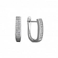 Серебряные серьги Мадонна с дорожками кристаллов циркония и родием