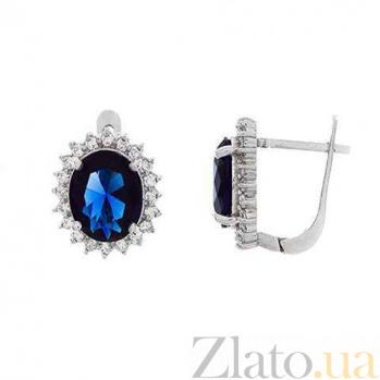 Серебряные серьги с синим цирконием AQA--E06106CZ