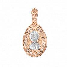 Золотая ладанка Богородица и Чудотворец с фианитами