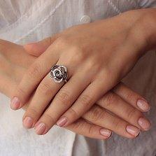 Серебряное кольцо Яркий цветок с фианитами и черной эмалью в стиле Булгари