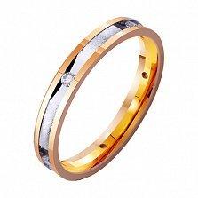 Золотое обручальное кольцо Сияние влюбленных сердец с одним фианитом
