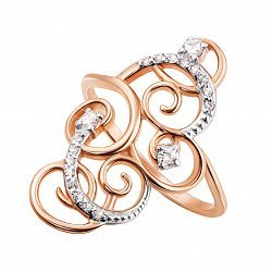 Кольцо в красном золоте Узоры с фианитами