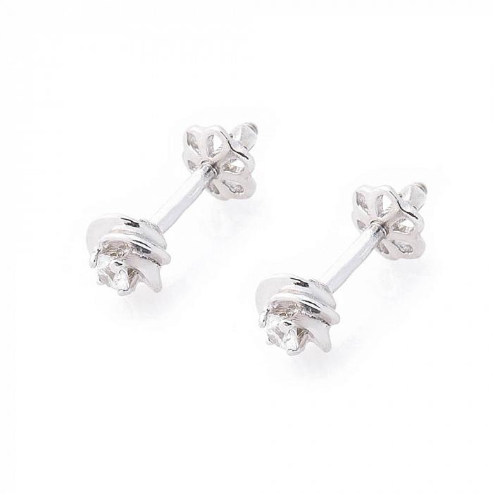 Серебряные серьги-пуссеты Амаль с фианитами 000080171