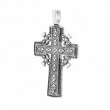 Серебряный крестик Примирение с золотой вставкой и перламутром