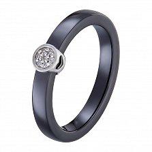 Кольцо в белом золоте Инга с черной керамикой и бриллиантами