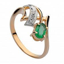 Золотое кольцо с изумрудом и бриллиантами Верити