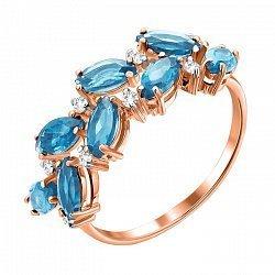 Кольцо из красного золота с топазами и фианитами 000135586