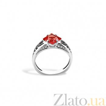 Серебряное кольцо Янина с эмалью, красным и белыми фианитами 000096540