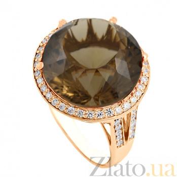 Золотое кольцо с раухтопазом и фианитами Успех VLN--112-1387-2