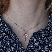 Золотой кулон-ключик Родное сердечко с кристаллами циркония