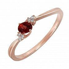 Кольцо Турция из красного золота с бриллиантами и гранатом