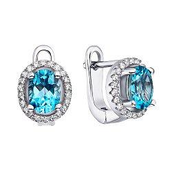 Серебряные серьги с топазами swiss и фианитами 000145883