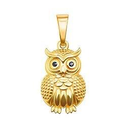 Золотой кулон Сова из желтого золота с черными фианитами 000130781